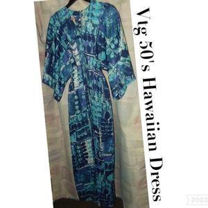 Vtg 1950's Hawaiian Maxi Dress